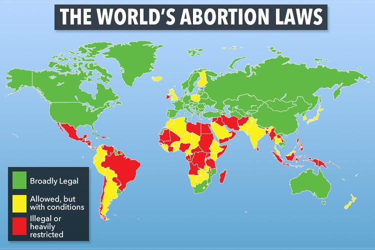 Map reveals how a THIRD of the world still bans abortion ...
