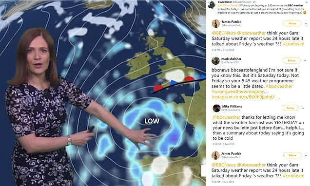 BBC News leaves viewers baffled by playing FRIDAY'S weather report