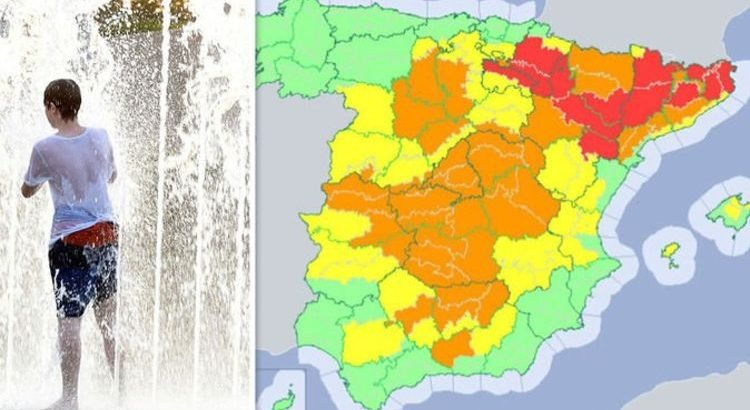 Weather Map Of Spain.Spain Weather Forecast Spain To Hit 108f Health Warning As Humans