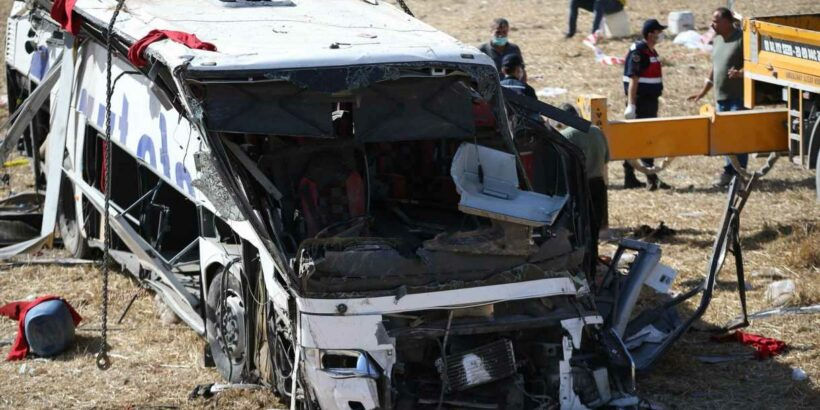 Turkey bus crash - 14 dead and 18 injured as coach veers off road and rolls  down embankment in devastating scenes - Hot World Report